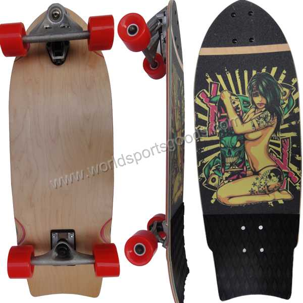 Colorful canadian maple deck mini fish skateboard for sale